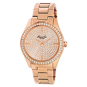 Kenneth Cole Ladies' Large Rose Gold Tone Pave Set Watch - Product number 2519143