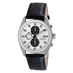 Kenneth Cole Men's Silver Dial Black Crocodile Strap Watch - Product number 2520087