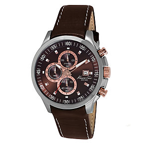Kenneth Cole Men's Chronograph Brown Leather Strap Watch - Product number 2521229