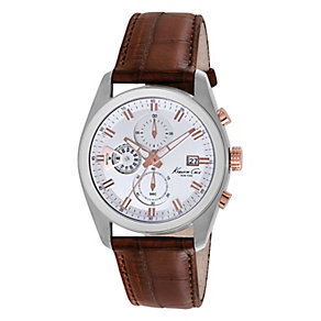 Kenneth Cole Men's Brown Leather Strap Watch - Product number 2521245