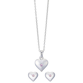 Silver & Pink Cubic Zirconia Heart Earring & Pendant Set - Product number 2538733