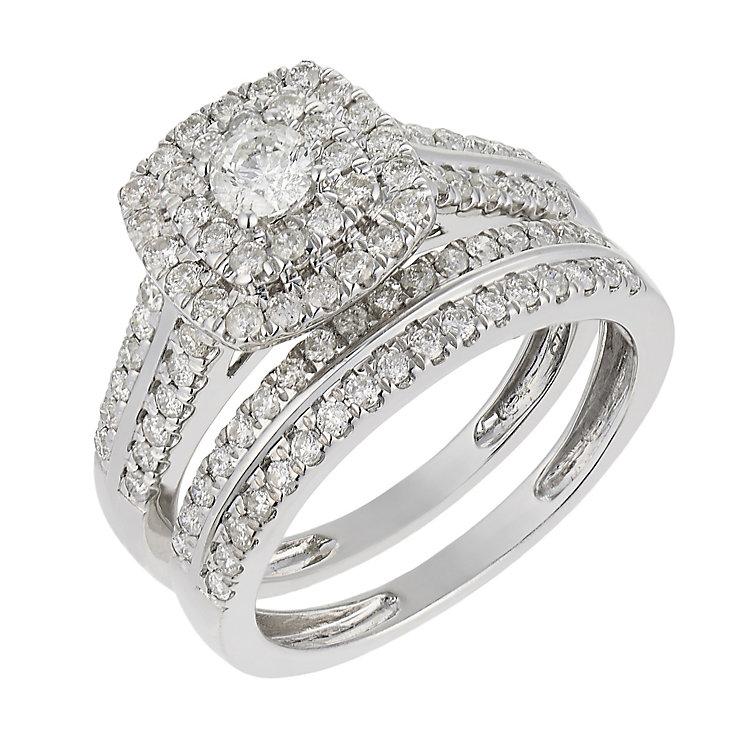 18ct white gold one carat diamond double halo bridal set - Product number 2540762