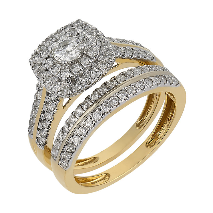 18ct yellow gold one carat diamond double halo bridal set - Product number 2540908