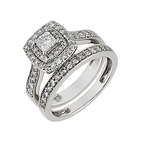 Platinum one carat diamond double halo bridal set - Product number 2541025