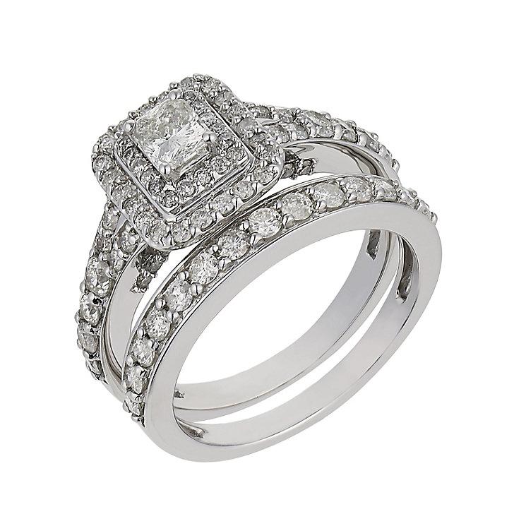 Platinum 1.5 carat diamond double halo bridal set - Product number 2541157