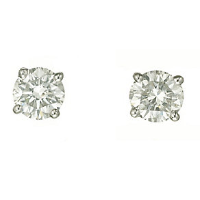 18ct white gold one carat diamond H-I SI2stud earrings - Product number 2541866