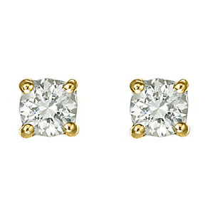 18ct yellow gold 40 point diamond G-H SI1 stud earrings - Product number 2542072