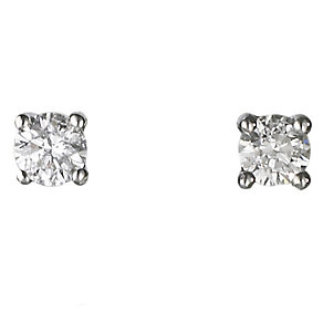 Platinum quarter carat diamond H-I SI2 solitaire earrings - Product number 2542285