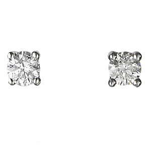 Platinum quarter carat diamond F-G VS2 solitaire earrings - Product number 2542307