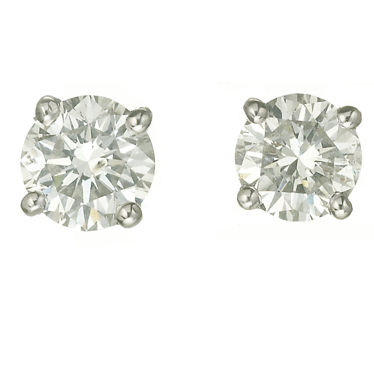 Platinum one carat diamond H-I P1 stud earrings - Product number 2542439