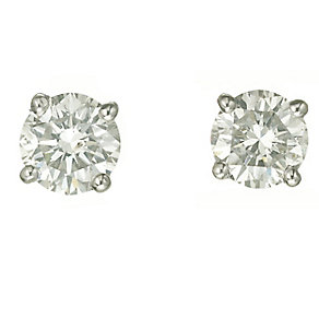Platinum one carat diamond F-G VS2 stud earrings - Product number 2542463