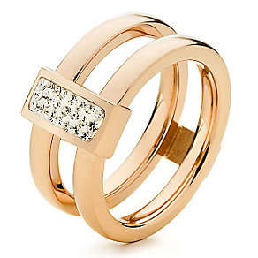 Folli Follie rose gold-plated double ring size O 1/2 - Product number 2542749