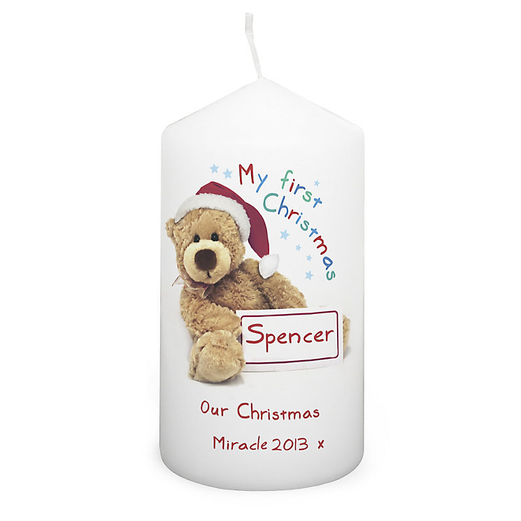 Personalised Teddy 1st Christmas Candle - Product number 2547791
