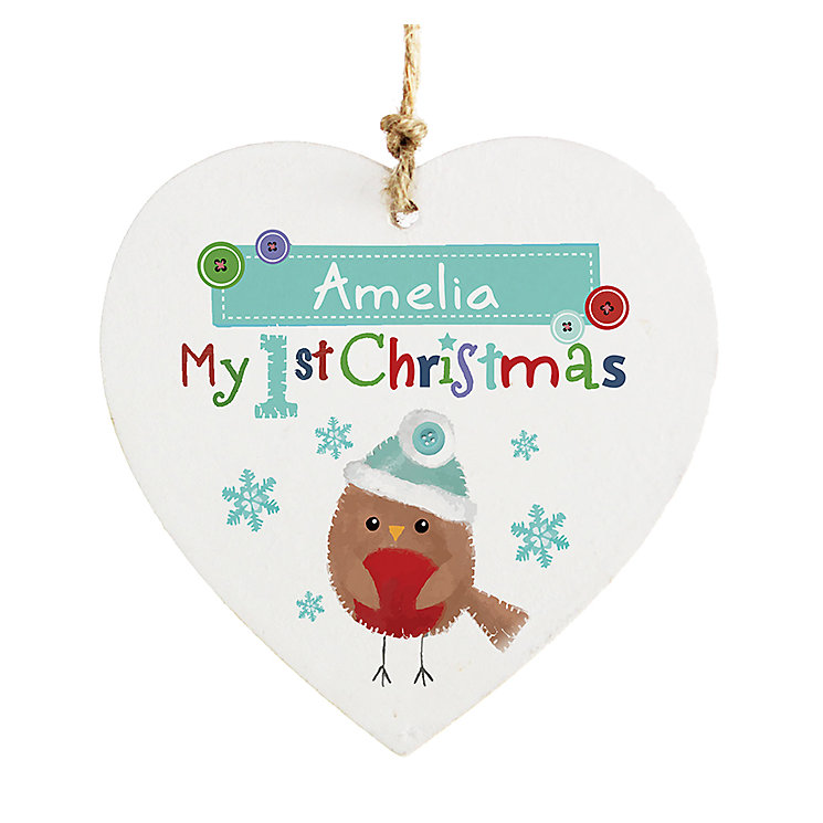 Felt Stitch Robin 'My 1st Christmas' Wooden Heart Decoration - Product number 2547880