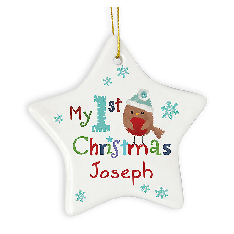 Felt Stitch Robin 'My 1st Christmas' Ceramic Star Decoration - Product number 2547899