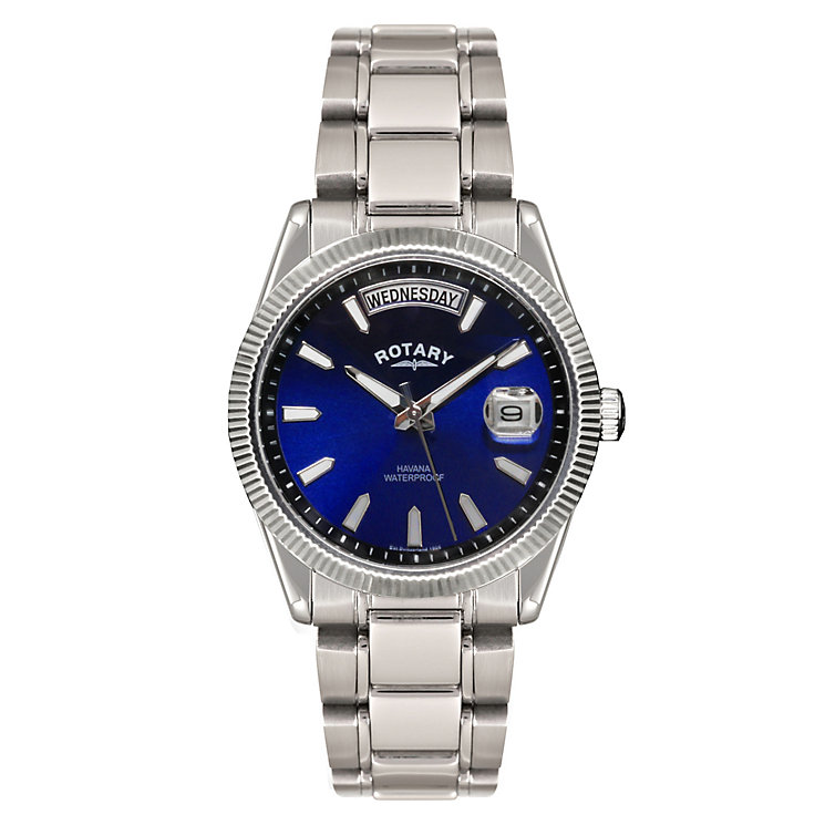 Rotary Men's Blue Dial & Stainless Steel Watch - Product number 2548143