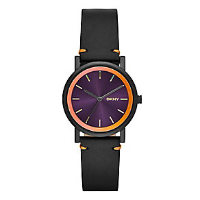 DKNY Ladies' SoHo Orange & Black Leather Strap Watch - Product number 2548178