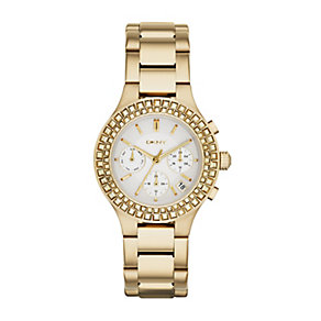 DKNY Ladies' Chambers Yellow Gold Plated Bracelet Watch - Product number 2548291