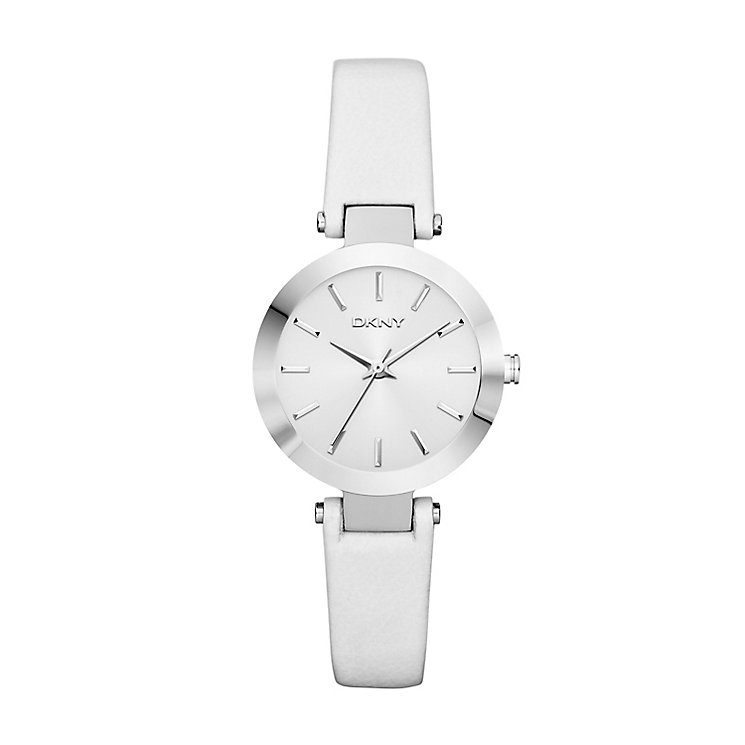DKNY Ladies' Stanhope Stainless Steel & White Leather Watch - Product number 2548453