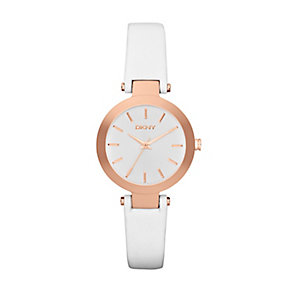 DKNY Ladies' Stanhope Rose Gold Tone & White Leather Watch - Product number 2548607