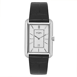 Rotary Men's Rectangular Dial Black Leather Strap Watch - Product number 2548739