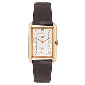 Rotary Men's Rose Gold Plated Rectangular Dial Watch - Product number 2548747