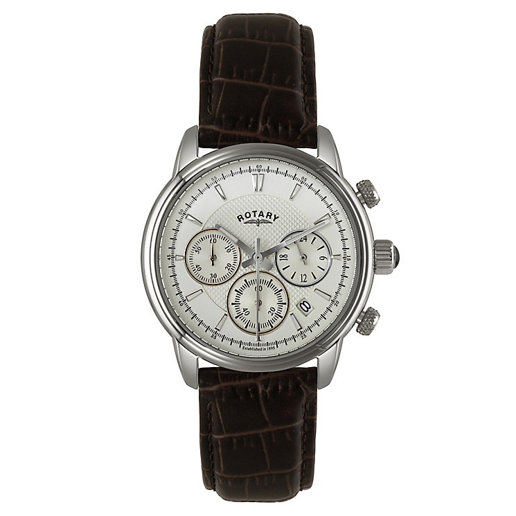 Rotary Men's Stainless Steel Leather Strap Chronograph Watch - Product number 2548771