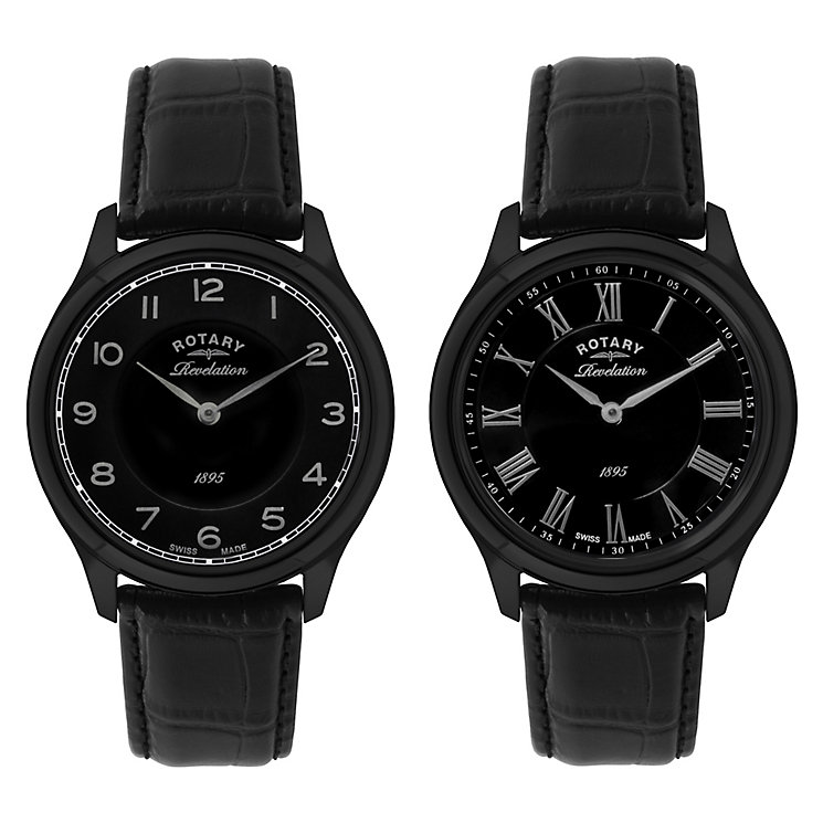 Rotary Men's Revelation Dual Dial Black Leather Watch - Product number 2548798