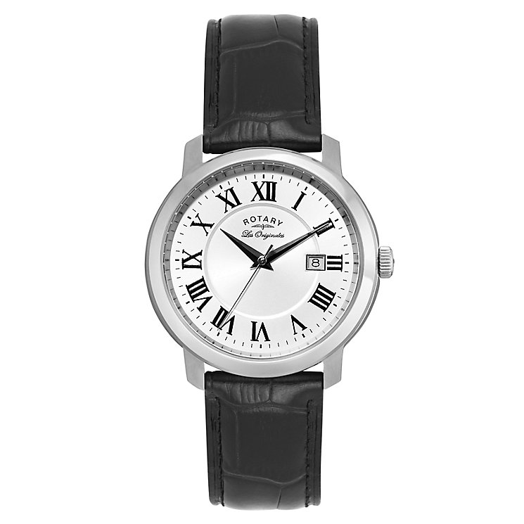 Rotary Men's Stainless Steel & Black Leather Strap Watch - Product number 2548879