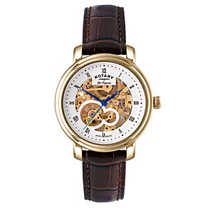 Rotary Men's Yellow Gold Plated Skeleton Watch - Product number 2548887