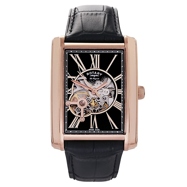 Rotary Men's Rectangular Black & Rose Gold Plated Watch - Product number 2548917