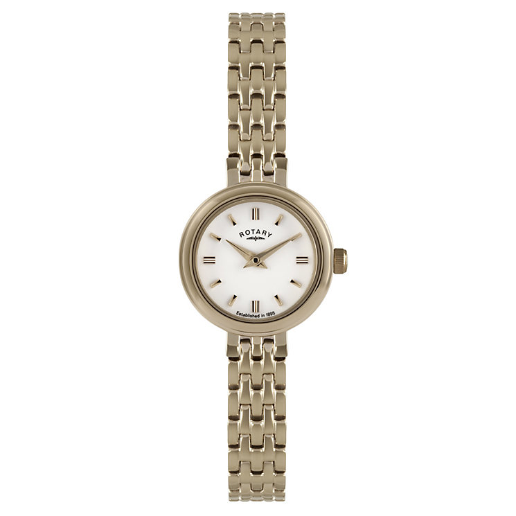 Rotary Ladies' White Dial Rose Gold Plated Bracelet Watch - Product number 2548933