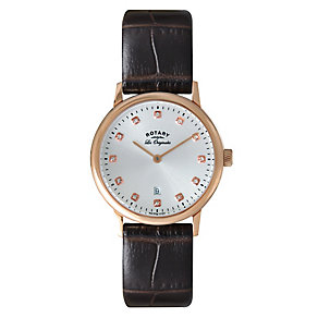 Rotary Ladies' Stone Set Rose Gold Plate Watch - Product number 2549255