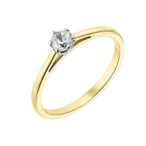 18ct yellow gold 0.25ct diamond H-J I2/I3 ring - Product number 2549263