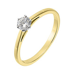 18ct yellow gold 0.33ct diamond H-J I2/I3 solitaire ring - Product number 2549409