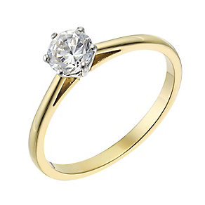 18ct yellow gold 0.40ct diamond H-J I2/I3 solitaire ring - Product number 2549530
