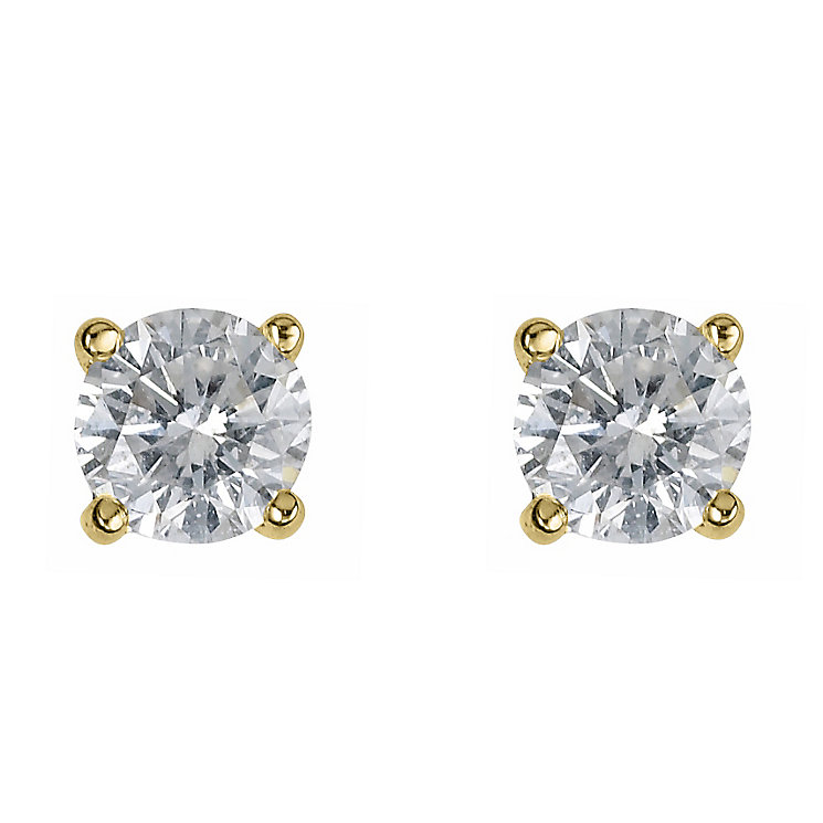 18ct yellow gold half carat diamond H-J I2 earrings - Product number 2549700