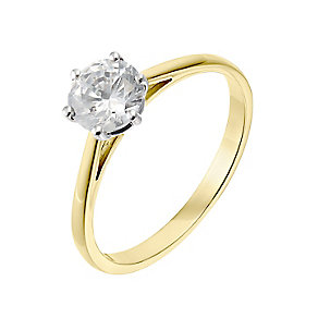 18ct yellow gold one carat diamond H-J I2/I3 solitaire ring - Product number 2549735