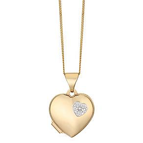 9ct Yellow Gold Diamond Set Heart Locket - Product number 2550954