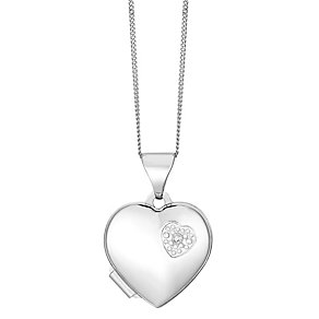 9ct White Gold Diamond Set Heart Locket - Product number 2550962