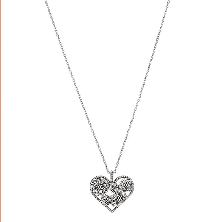 Chamilia Sterling Silver Floral Zinnia Heart Pendant - Product number 2551624
