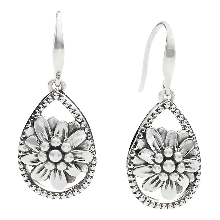 Chamilia zinnia flower teardrop earrings in sterling silver - Product number 2588269