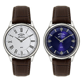 Rotary Men's Revelation Dual Dial Leather Strap Watch - Product number 2598485