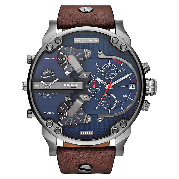 Diesel Mens Mr Daddy Blue Dial Brown Leather Strap Watch - Product number 2599309