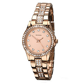 Sekonda Ladies' Rose Gold Plated Stone Set Bracelet Watch - Product number 2600315