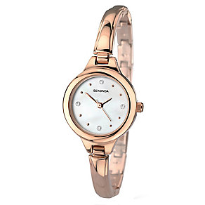Sekonda Ladies' Rose Gold Plated Semi Bangle Bracelet Watch - Product number 2600331