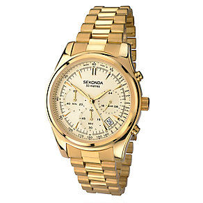 Sekonda Men's Yellow Gold Plated Chronograph Bracelet Watch - Product number 2600412