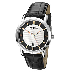 Sekonda Men's Silver Tone Dial & Black Strap Watch - Product number 2600420