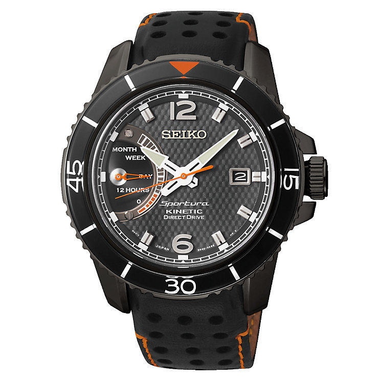Seiko Men's Sportura Black Leather Strap Watch - Product number 2602016