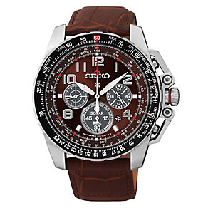 Seiko Men's Prospex Brown Leather Strap Watch - Product number 2602032
